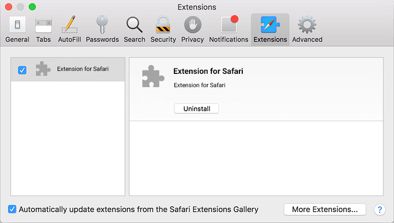 Safari menu